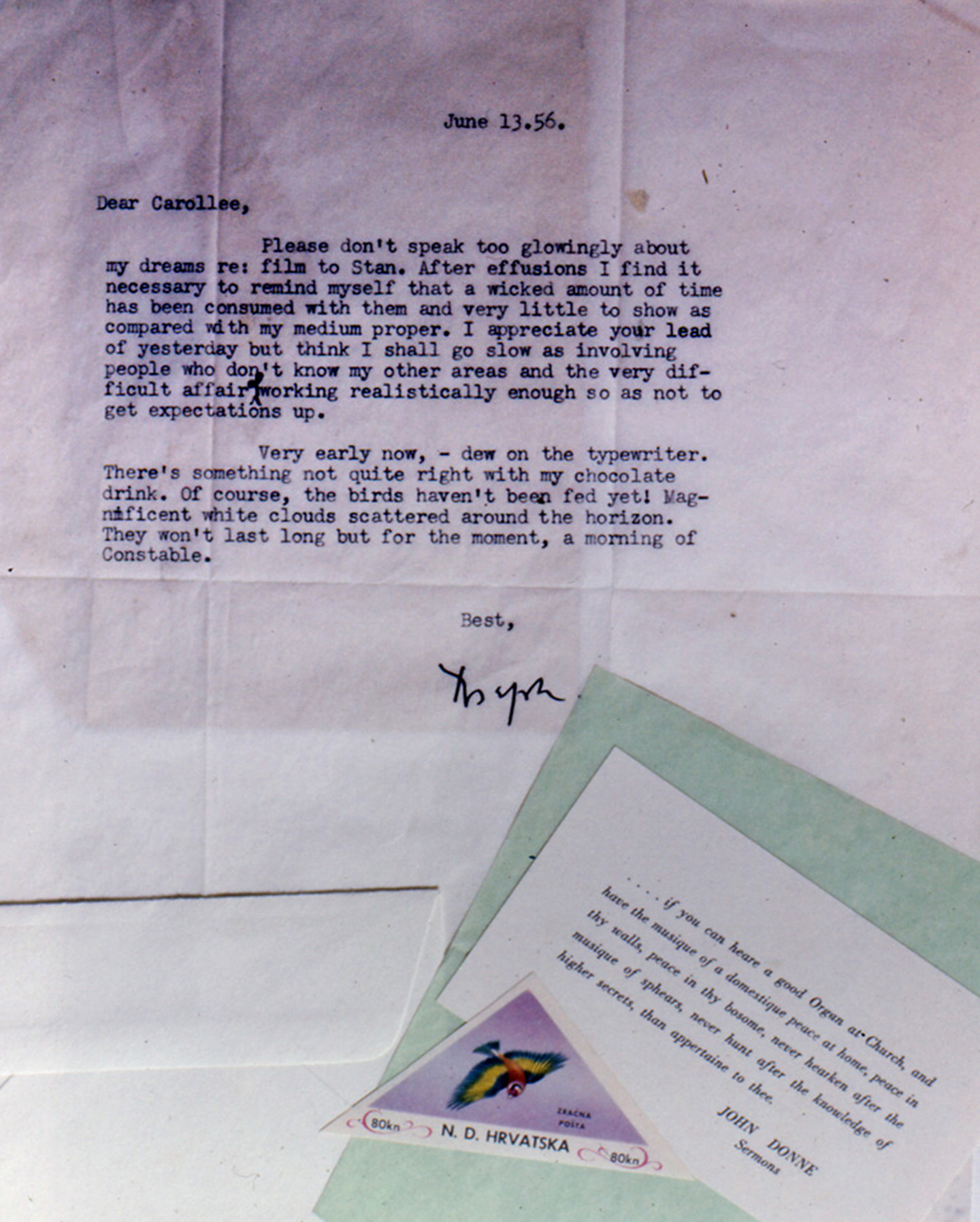 A letter written by Joseph Cornell in 1956. Image copyright Carolee Schneemann.