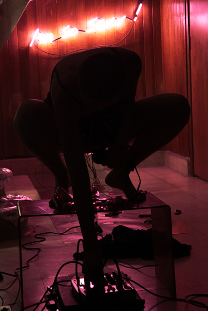 Photo: Betty Apple performing Vibrator Love of Sound in A verb between Yin and Yang - A Nocturnal Sound Salon at Vernacular Institute, Mexico City