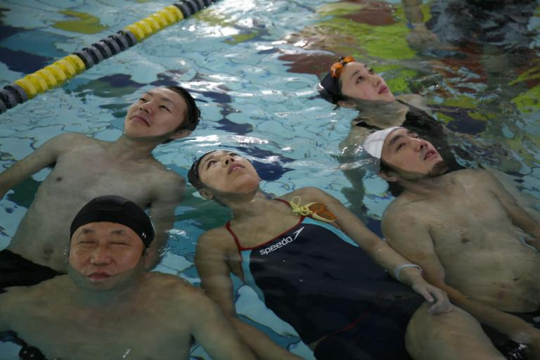 Underwater Concert at Matsudo NAS swimming pool, Japan. Bottom left is organizer Lee Daeil.