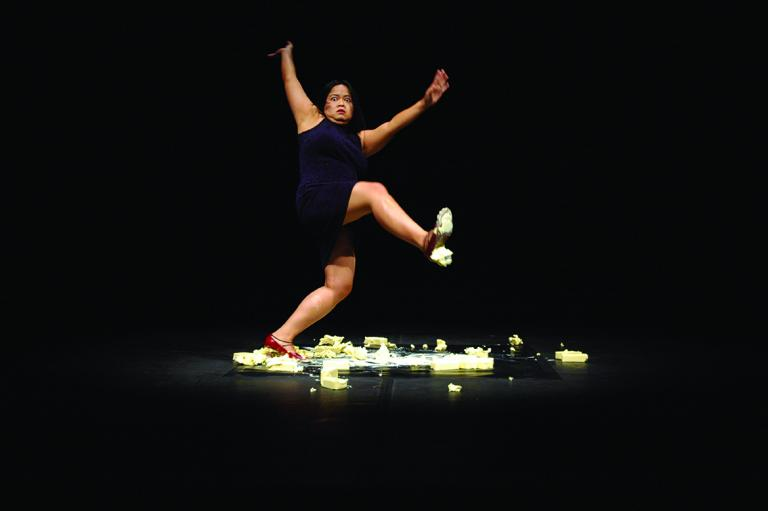 "Melati Suryodarmo, ""Exergie-butter dance"", performed at VideoBrasil, Sao Paolo, Brasil, 2005"