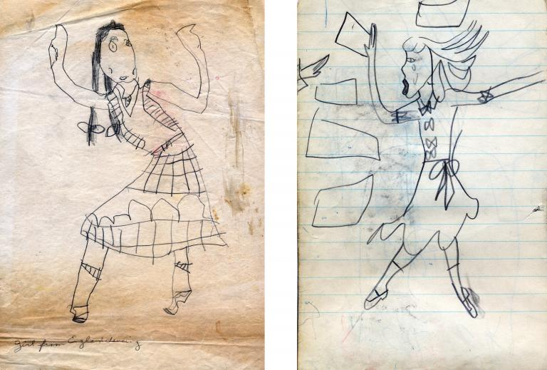 Carolee Schneemann childhood drawings