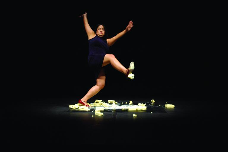 Melati Suryodarmo, Exergie-butter dance, performed at VideoBrasil, Sao Paolo, Brazil 2005